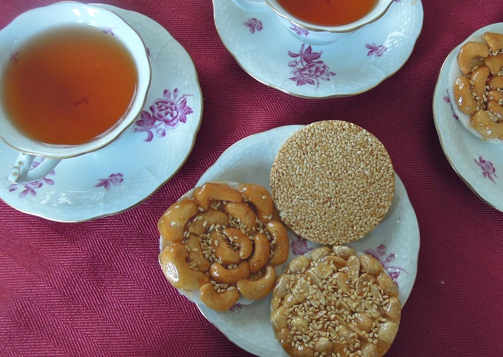Tea and sweets, like these nutty cookies, are served to family and friends when they come to visit.