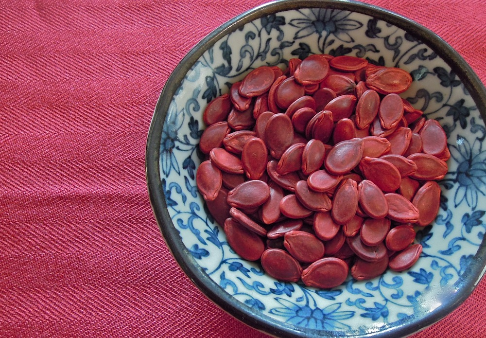 Watermelon seeds made even more lucky by red coloring. Photo: Anna Mindess