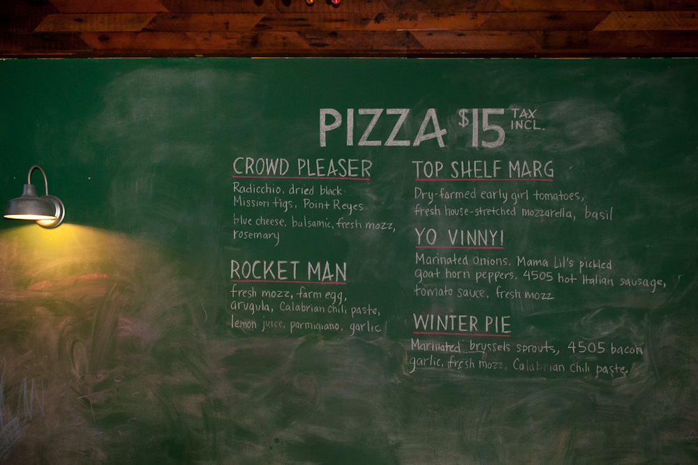 PizzaHacker chalkboard pizza menu. Photo: Naomi Fiss