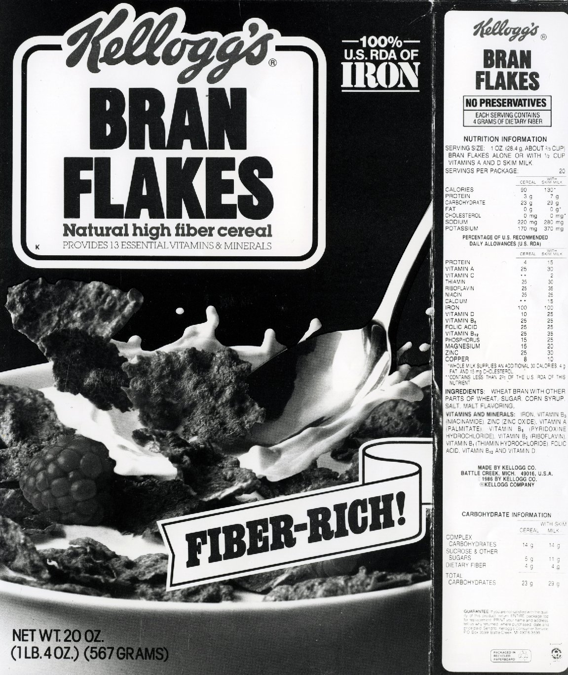 This 1986 Kellogg's Bran Flakes box lists many attributes: 100% RDA of Iron, Fiber Rich, No preservatives, natural high fiber cereal, provides 13 essential vitamins and minerals. Under the 1990 Nutrition Labeling and Education Act, many confusing label terms began to be standardized. Photo: US Food and Drug Administration/Flickr