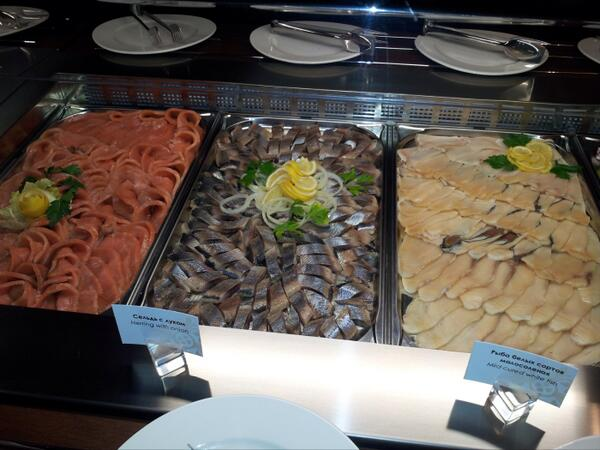 The breakfast buffet at journalists' hotel. (Jaye Watson/Twitter)