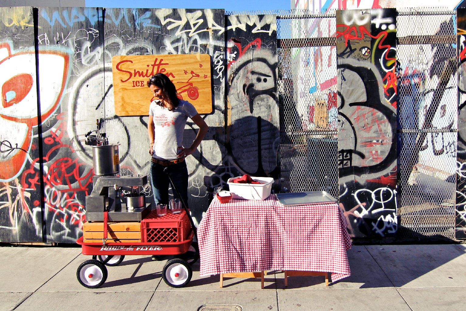 Robyn Sue Fisher and her red wagon. Photo: Courtesty of Smitten Ice Cream