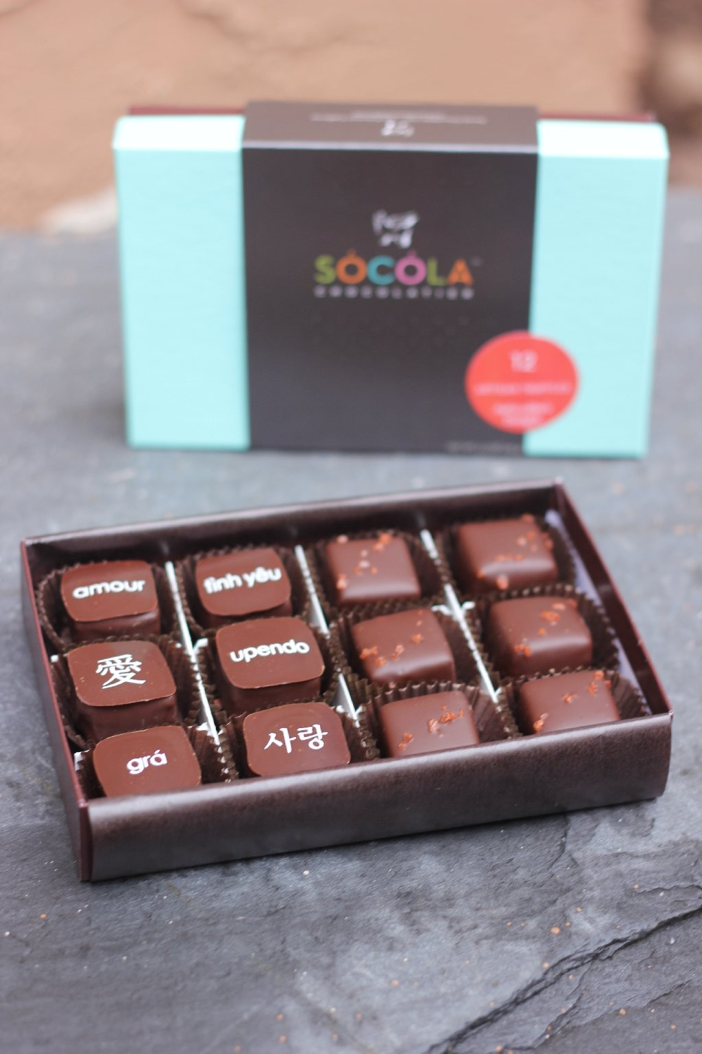 "Socola Chocolatier offers a Valentine's Day selection that includes chocolates with ""love"" in various languages. Photo: Momo Chang"