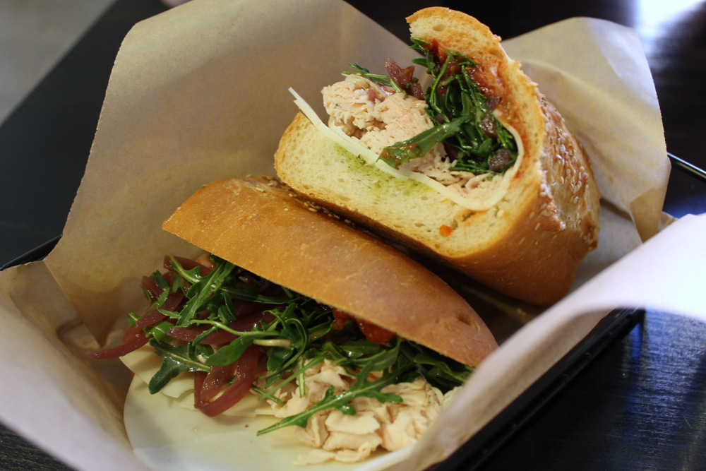 The turkey sub is made with house roasted turkey breast, tomato conserva, provolone, arugula, and dressing. Photo: Kate Williams
