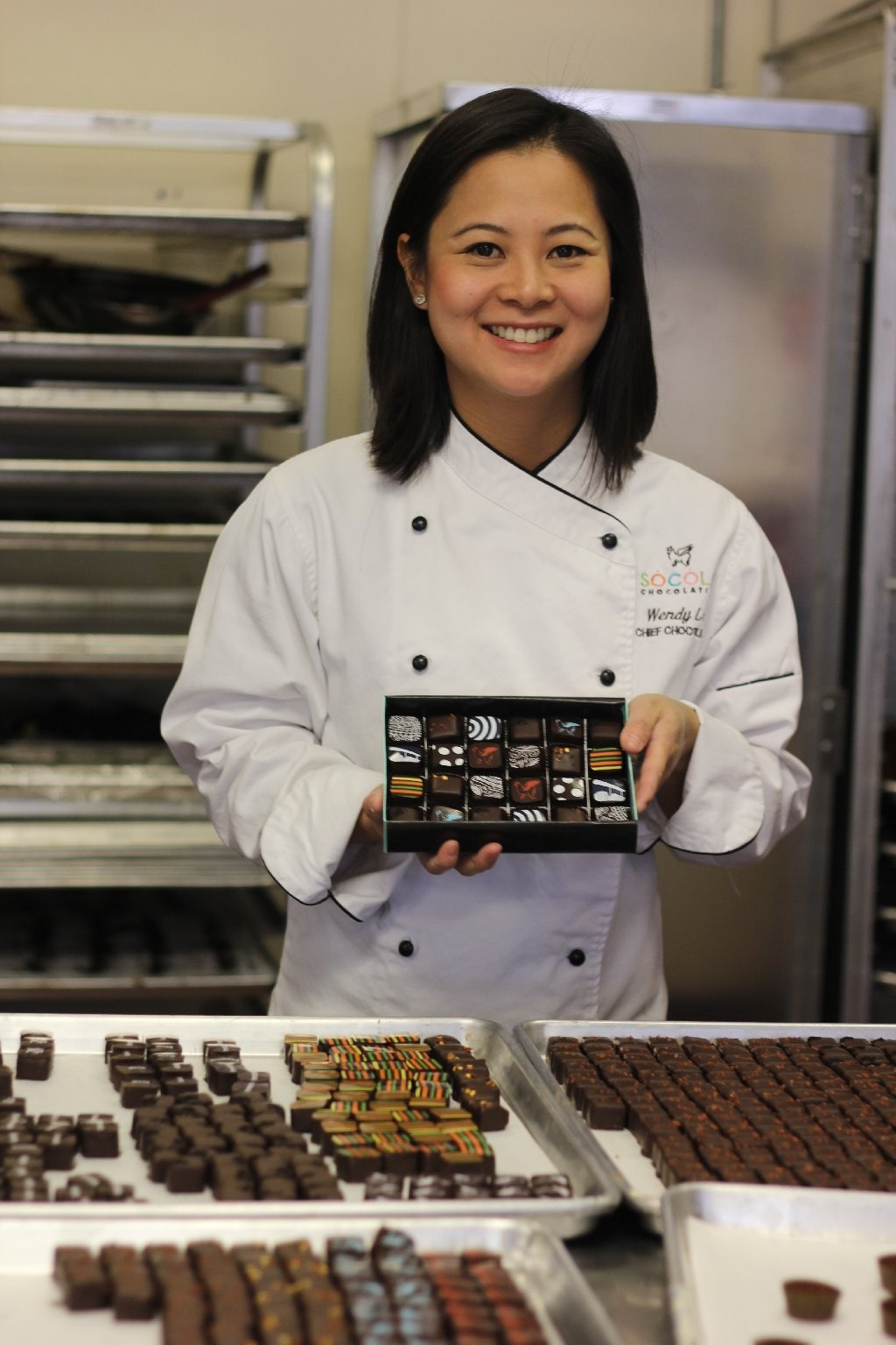 Wendy Lieu, chief chocolatier at Socola Chocolates, in South San Francisco. Photo: Momo Chang