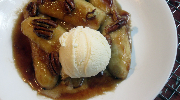 Caramelized Bananas With Nuts And Orange Liqueur. Photo: Laura B. Weiss/NPR