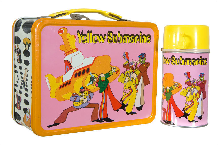 This 1968 Yellow Submarine Beatles lunchbox sold for $851.60 in 2011. Photo: Courtesy of Hake's Americana & Collectibles
