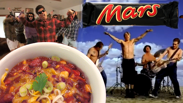 Super Bowl Eating: Halftime Red Hot Chili Peppers Chili and Bruno Mars Bars. Photo collage: Wendy Goodfriend