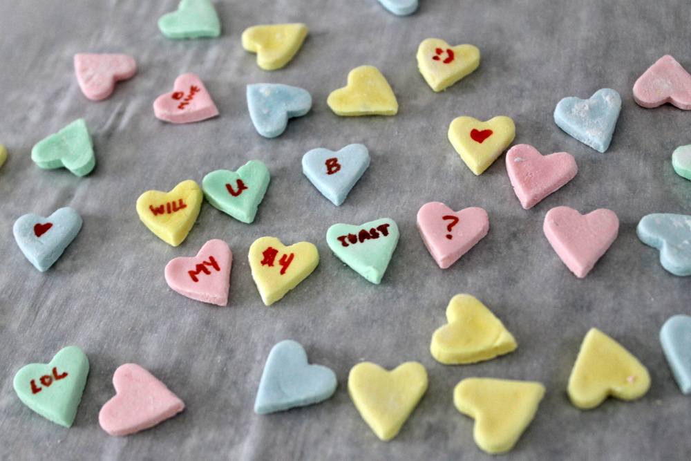 Use an edible marker to decorate the hearts with whatever message you'd like. Photo: Kate Williams