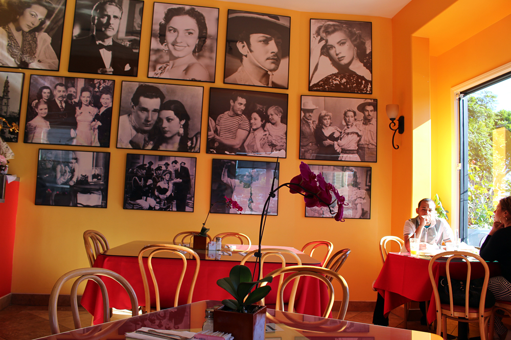 Gallardos interior includes a display of classic Mexican movie photos. Photo: Wendy Goodfriend