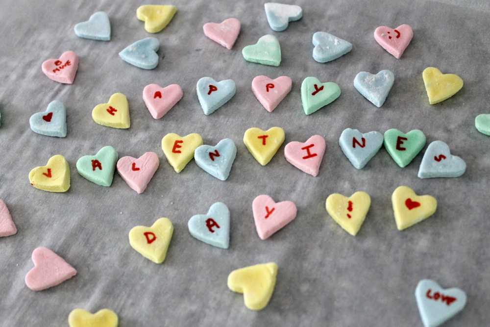 Making your own conversation heart candies is a fun DIY project for Valentine's Day. Photo: Kate Williams