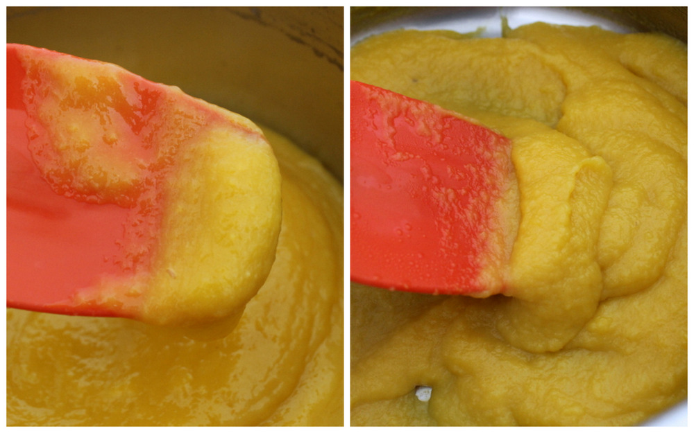 I like to reduce the fruit puree on the stove before dehydrating it in the oven. Here, I've reduced the mango puree from a thin, smoothie-like consistency (on the left), to a puree that looks more like applesauce (on the right). Photo: Kate Williams