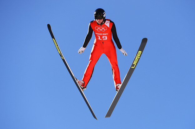 Peter Frenette of the United States jumps during training for the Men's Normal Hill Individual ahead of the start of the Sochi Games. (Lars Baron/Getty Images)