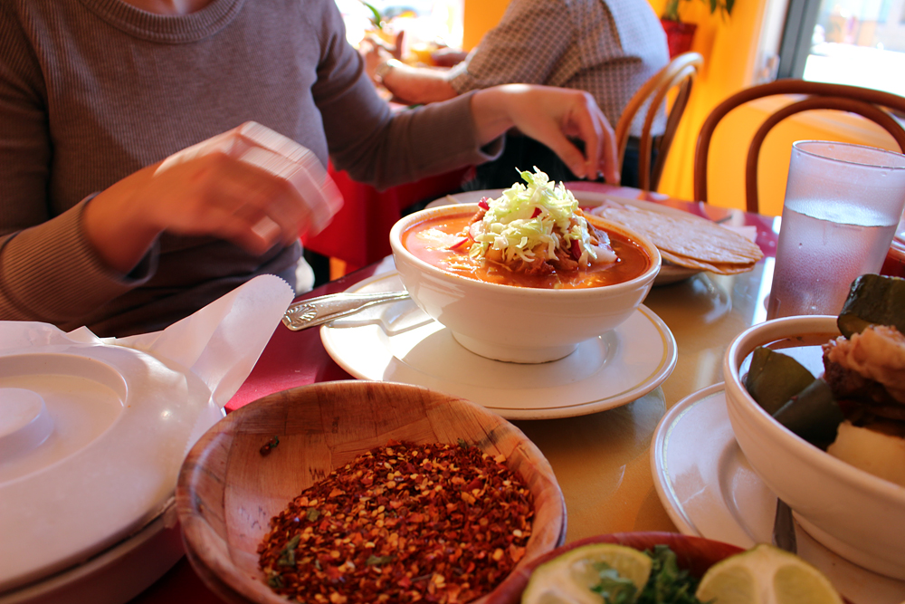 Many condiments accompany the pozole. Photo: Wendy Goodfriend
