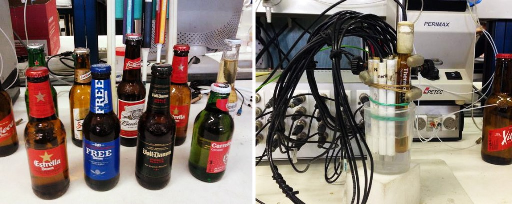 Robot beer party: The electronic tongue works by using its array of sensors to identify the chemical components in a solution. Researchers taught the tongue how to distinguish among five distinct beer types. Photos: Manel del Valle/Universitat Autonoma de Barcelona