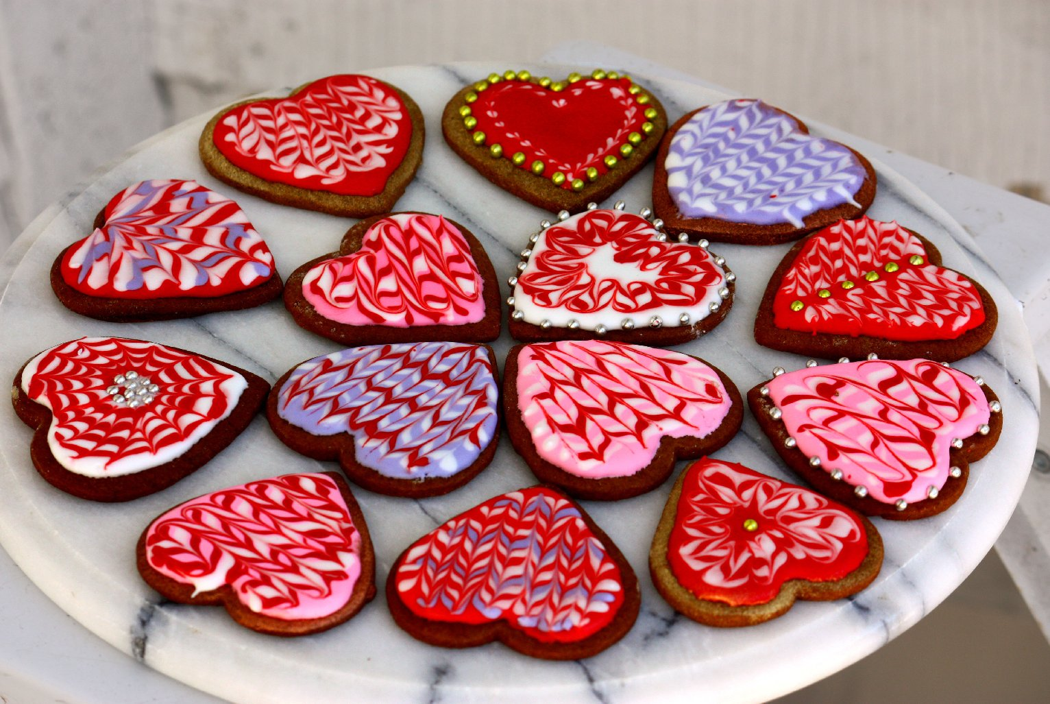 an assortment of marbled valentines cookies t susan changnpr