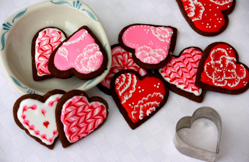 An assortment of iced gingerbread cookies for Valentine's Day. (T. Susan Chang/NPR)