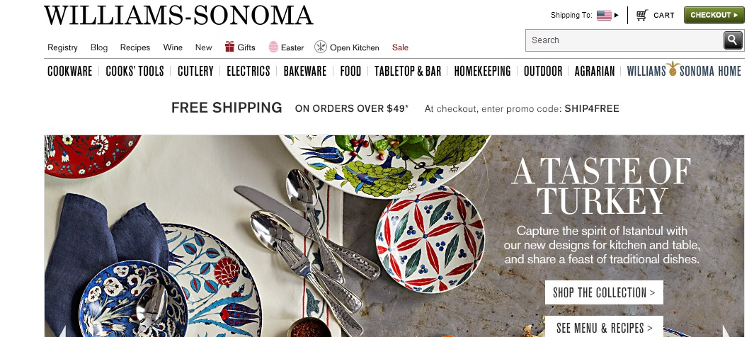 Williams-Sonoma's website offers a wealth of high-end cooking utensils. Photo: Williams-Sonoma