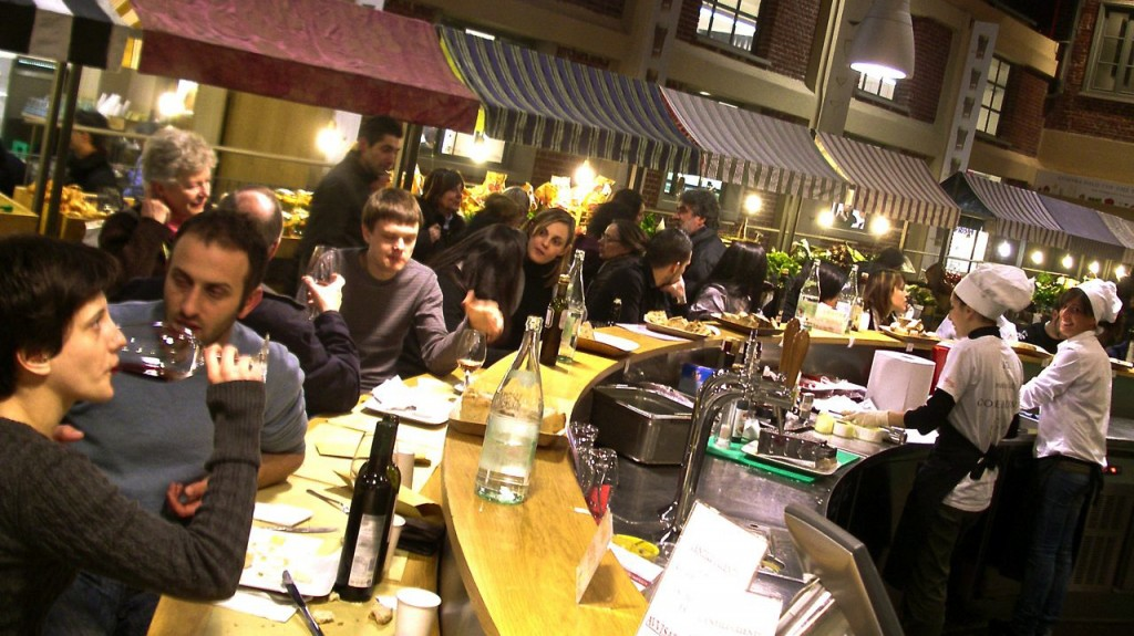 Customers dine at the original Eataly in Turin, Italy, which opened in 2007. Photo: demoshelsinki/Flickr