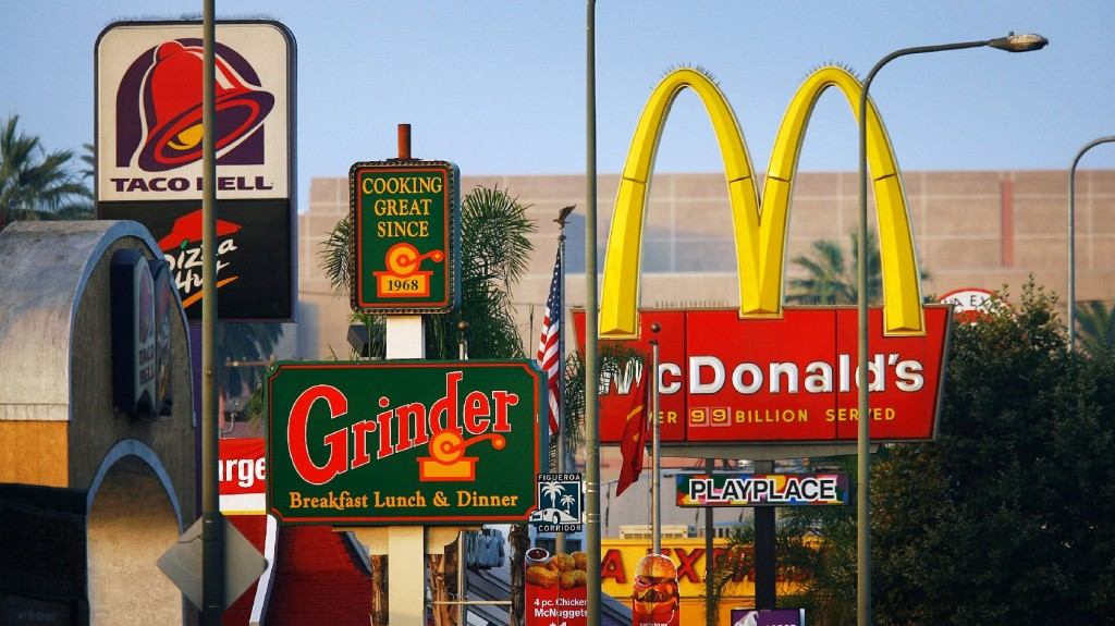 The density of fast-food joints where we live, work and commute could be a problem for our waistlines. Photo: David McNew/Getty Images