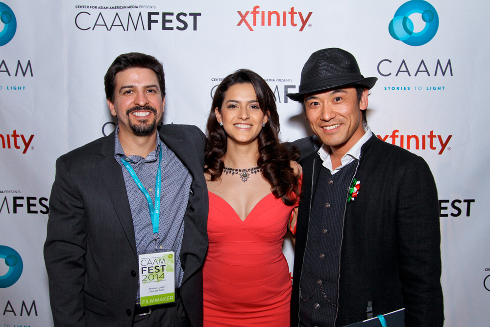 """East Side Sushi"" director (left) Anthony Lucero with actors Dianna Torres and Yutaka Takeuchi. Photo: Michael Jeong Photography"