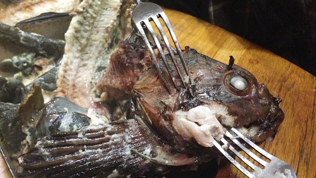 The head of a cabezon fish prepared by the author. Photo: Alastair Bland/NPR