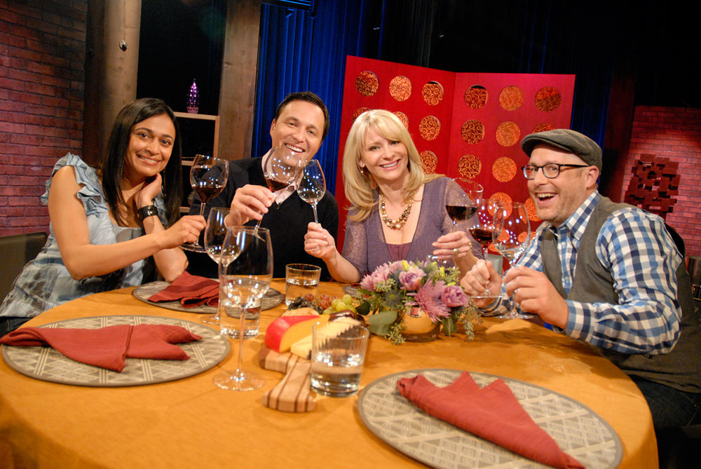 Guests and host Leslie Sbrocco tape the premiere episode of Season 9 of Check, Please! Bay Area at KQED. Photo: Wendy Goodfriend