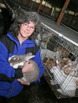 Myriam Kaplan-Pasternak with rabbits at Devil's Gulch Ranch. Photo courtesy of Devil's Gulch Ranch
