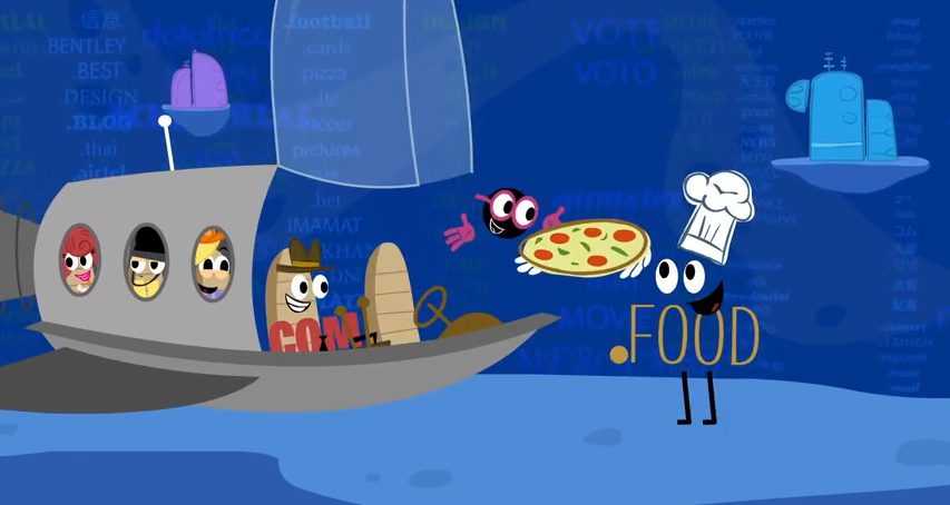 Pizza.food delivery from ICANN's video New gTLDs: The Dot has new friends!