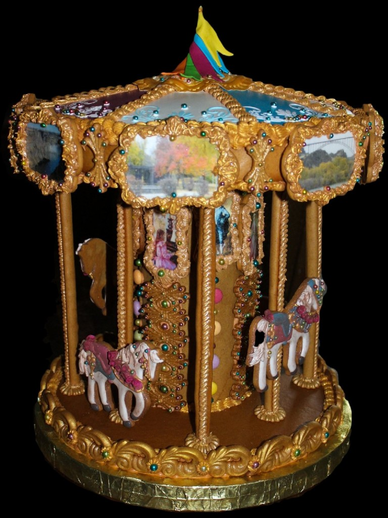 Lynne Schuyler created this gingerbread carousel. Her day job? Mechanical design for a commercial refrigeration company in Kimberly, Idaho. Photo: Lynne Schuyler via Cookie Connection