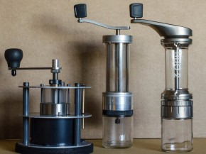 The Lido 2 (far right) is the latest hand grinder produced by the Garrotts. Their previous efforts were the well-regarded Pharos (left) and Lido 1 (center). Photo: Jessica Greene