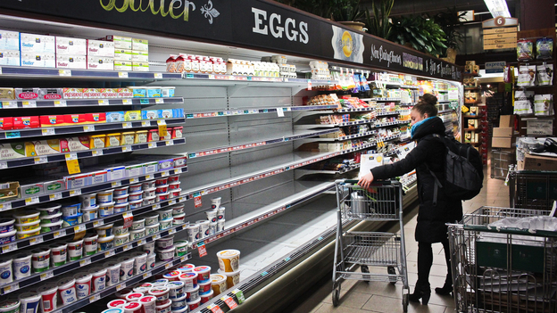 Empty shelves where eggs should be at a Whole Foods Market in Washington, D.C. The store blames increased demand for organic eggs. Photo: Dan Charles/NPR