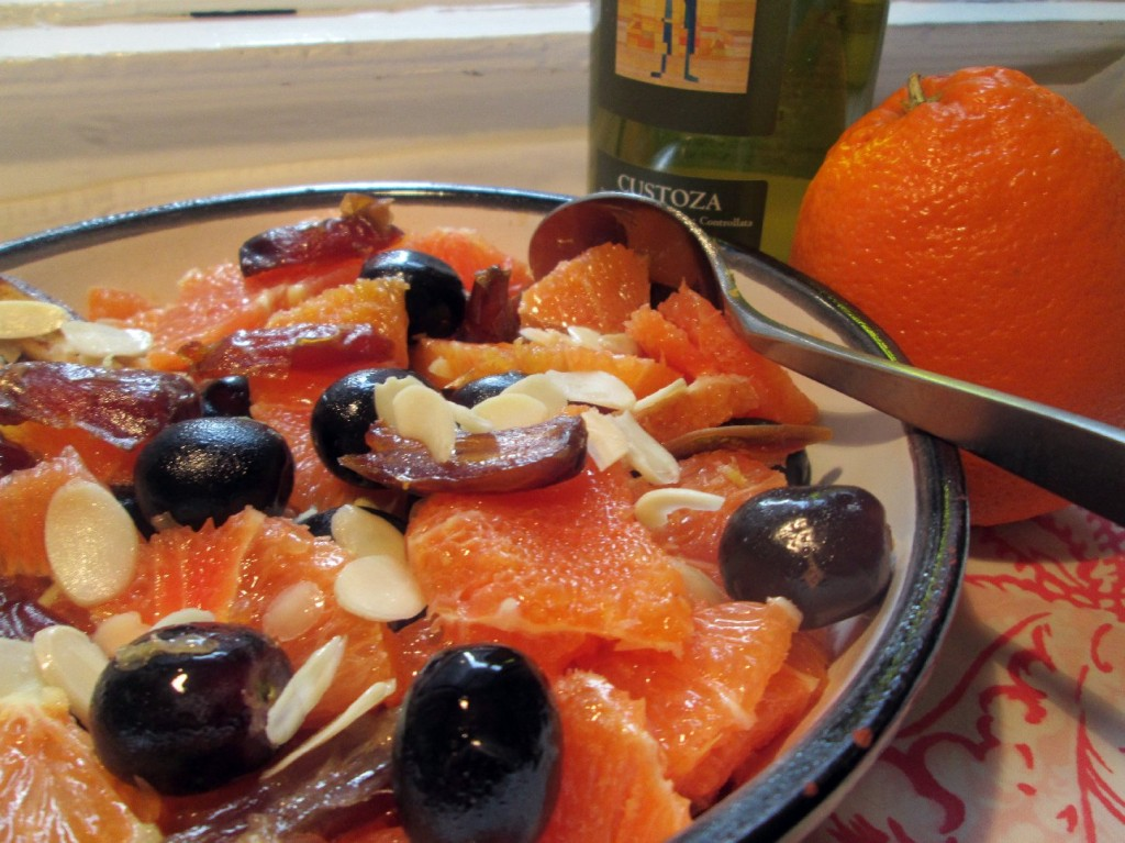 Macerated Oranges, Medjool Dates And Grapes with Slivered Almonds. Photo: Laura B. Weiss/NPR