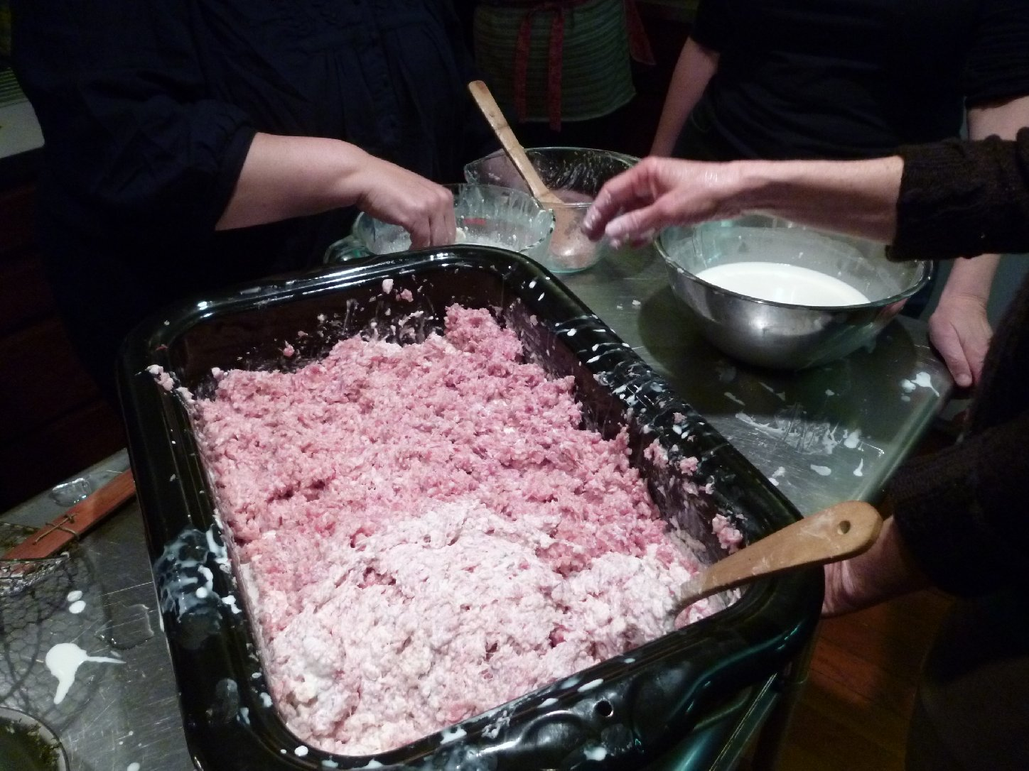 Mixing the sausage with cream and bread crumbs. Photo: Stephanie Rosenbaum