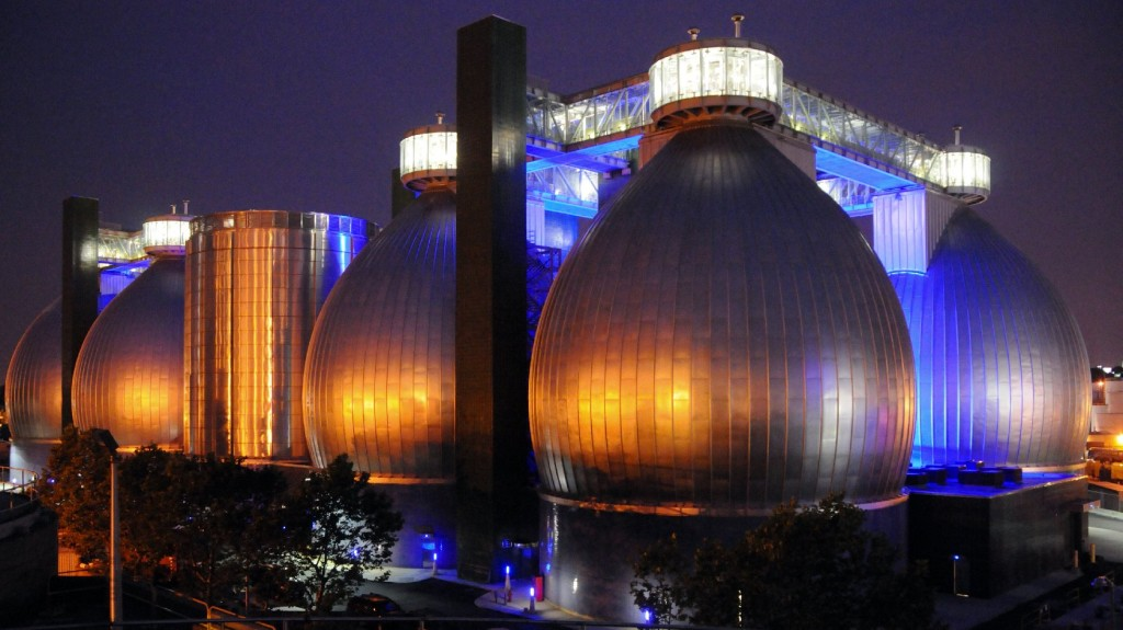 The digester eggs at Newtown Creek Wastewater Treatment Plant in Brooklyn contain millions of gallons of black sludge. Photo: Courtesy of New York City Department of Environmental Protection