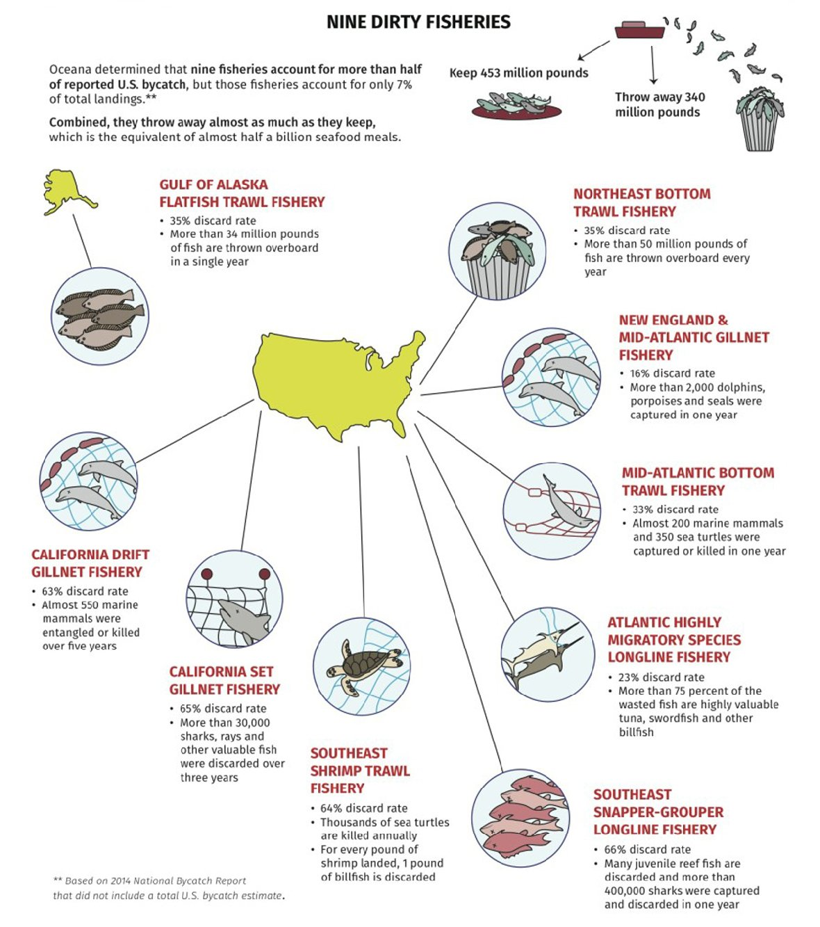 Nine fisheries account for more than half of the reported U.S. bycatch. Courtesy of Oceana