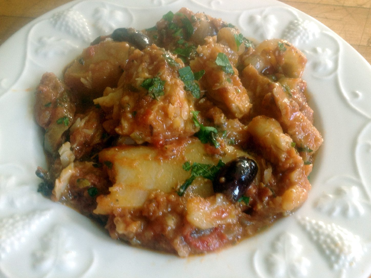 Baccala' Alla Napoletana (Salt Cod With Potatoes In Tomato Sauce). Photo: Tom Gilbert/NPR