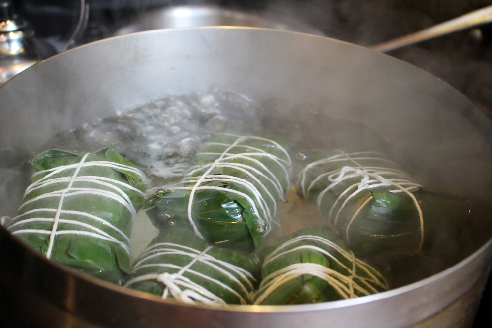 Boiling the prepared Banh Chung. Photo: Wendy Goodfriend