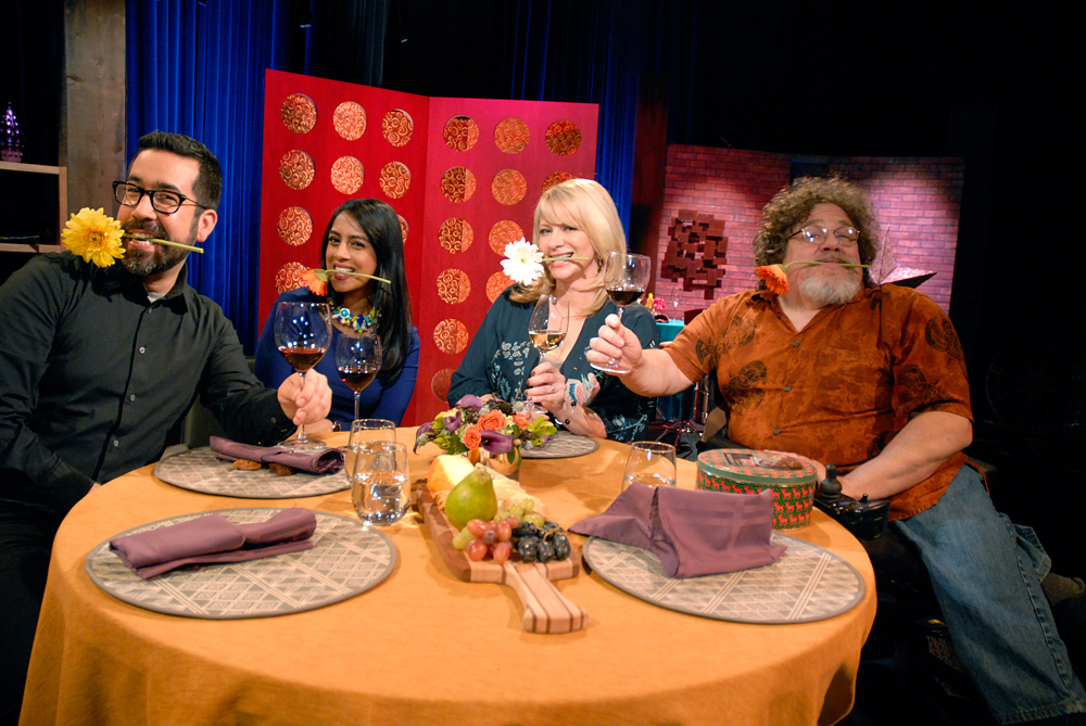 Guests and host Leslie Sbrocco tape the second episode of Season 9 of Check, Please! Bay Area at KQED. Photo: Wendy Goodfriend