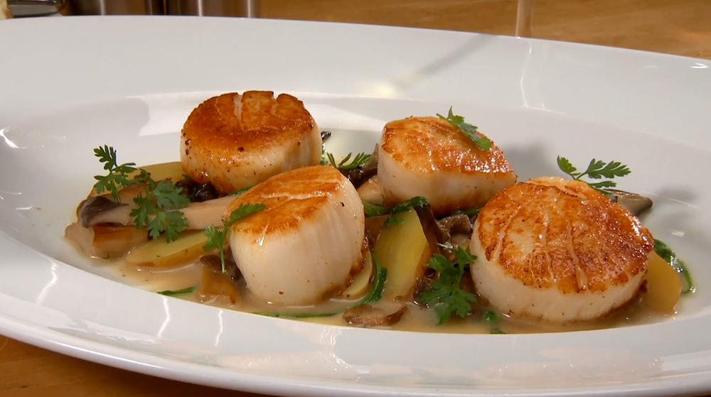 Scallops with Wild Mushrooms and Potatoesat Perbacco