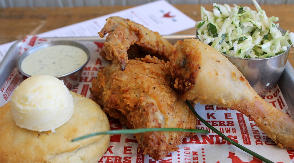 The fried chicken entrée at Propositon Chicken comes with a buttermilk biscuit, spicy slaw, and ranch dressing. Photo: Kate Williams