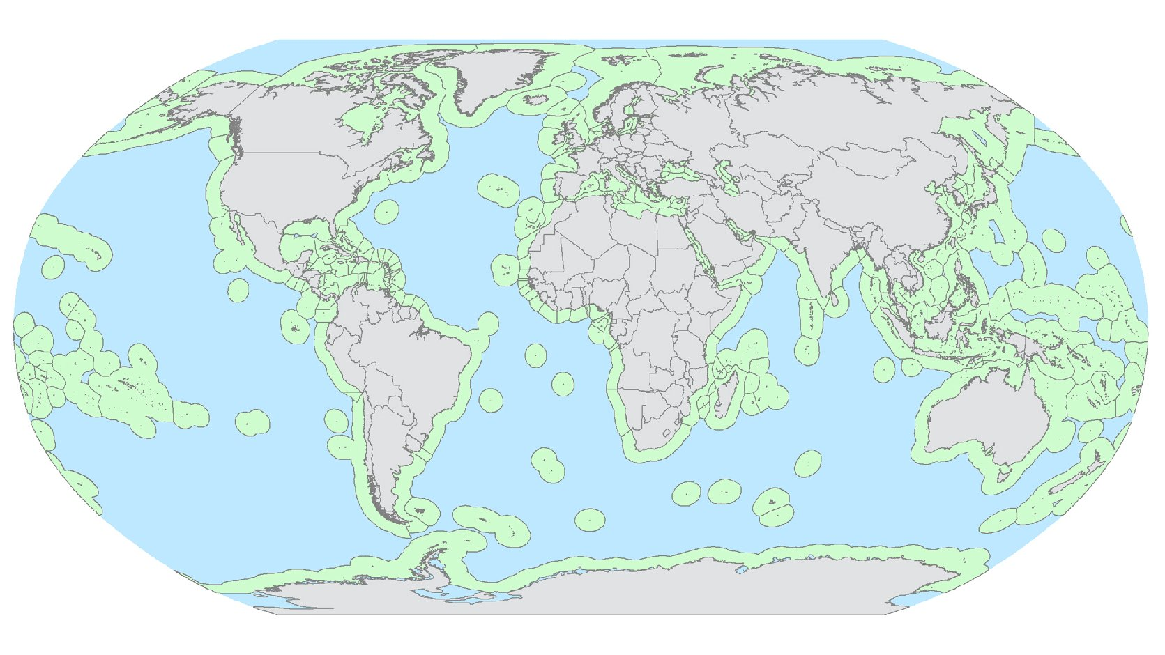 A global map of exclusive economic zones (green), where fishing would be allowed, and high seas (blue), where fishing would be banned, under the proposal from researchers Crow White and Christopher Costello. Image: PLoS Biology