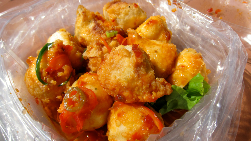 Spicy squid balls with fish roe