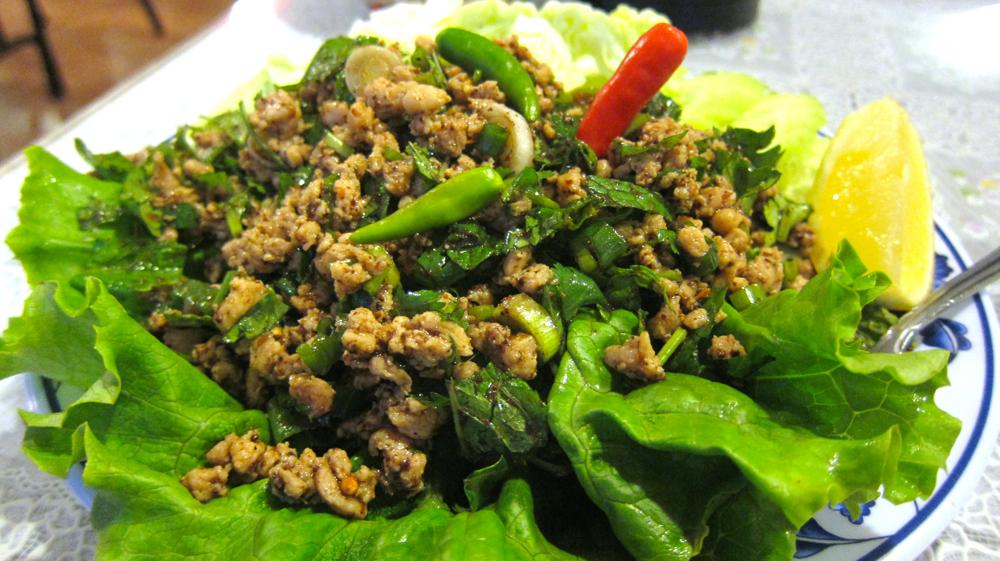 Larb kai (ground chicken salad)