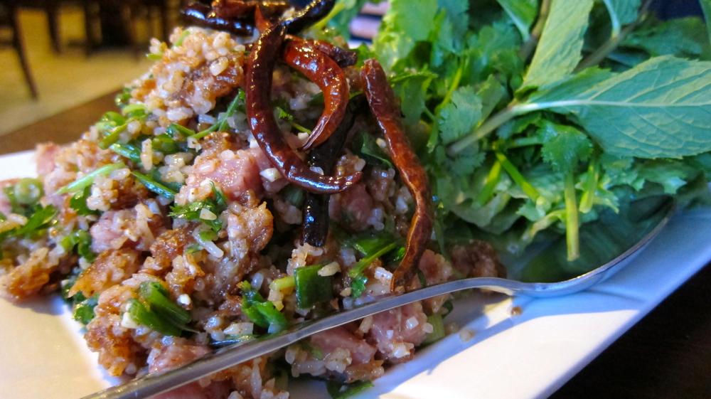 Nam kao (crispy rice salad)