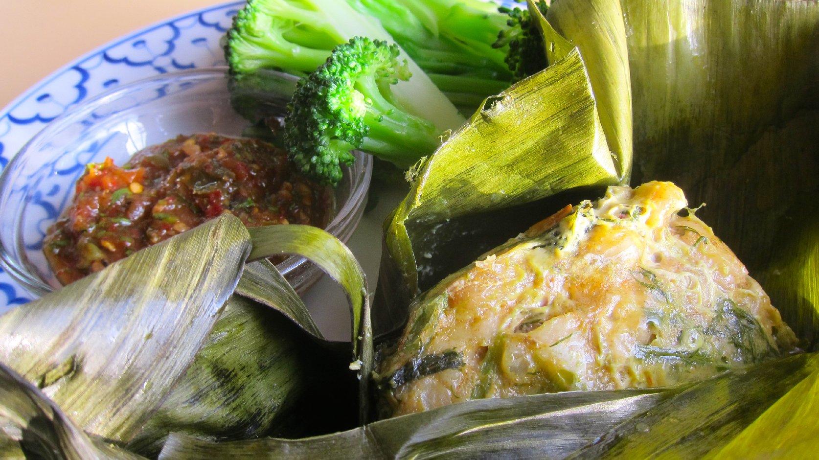 Mok pla (steamed catfish)