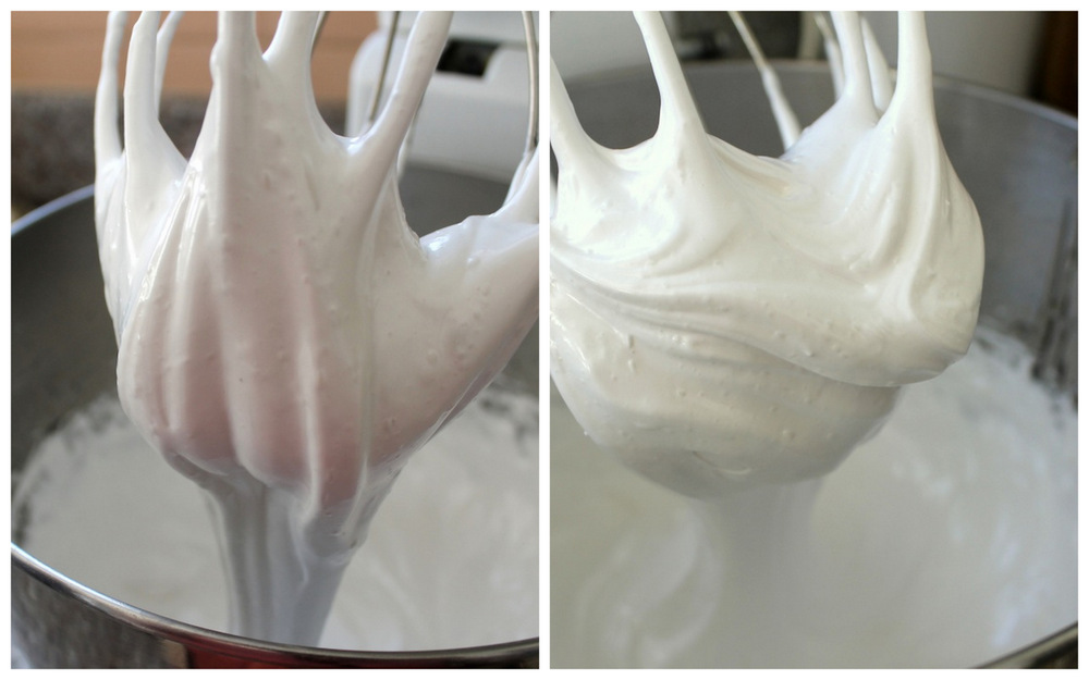 The marshmallow mixture must be whipped for a long time to add volume while it cools. You'll know it is ready when the mixture loses its gloss and holds tightly to the whisk. The marshmallow mixture on the left is glossy and trails off of the beater; it is not quite finished. The marshmallow mixture on the right is matte and forms a stiff mound on the whisk; it is ready to go. Photos: Kate Williams