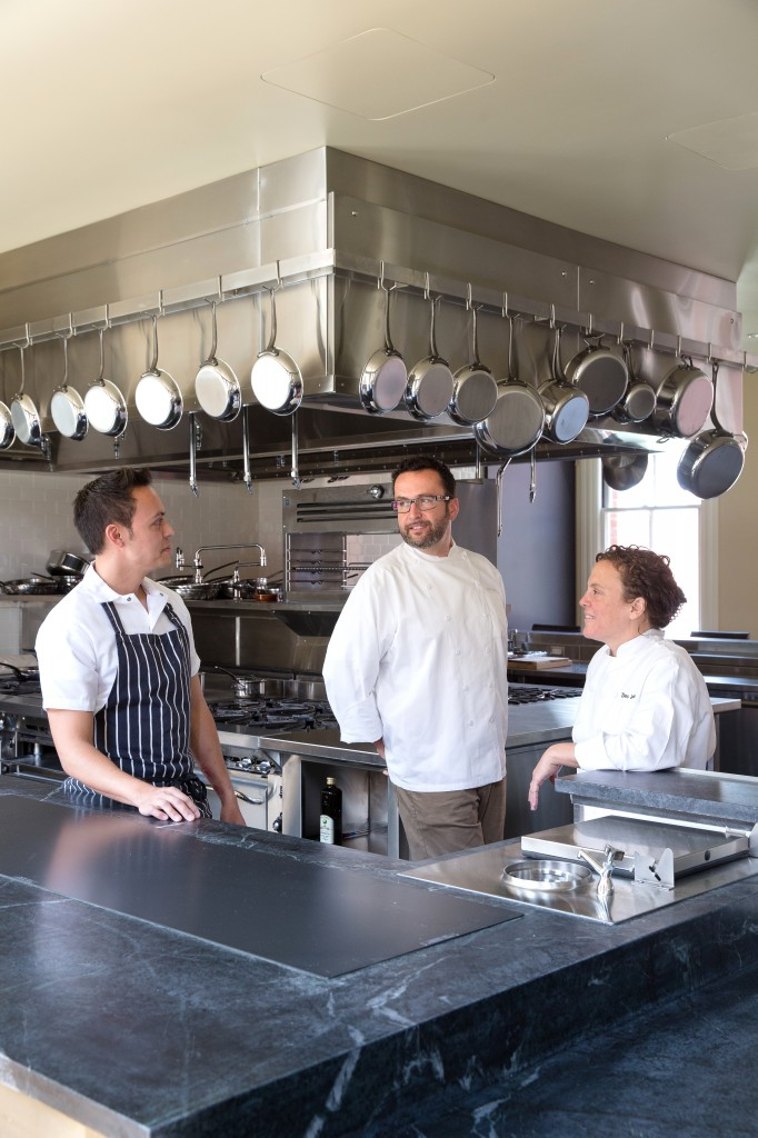 Chefs Reylon Agustin, Robbie Lewis and Traci Des Jardins inside The Commissary Kitchen. Photo: Aubrie Pick