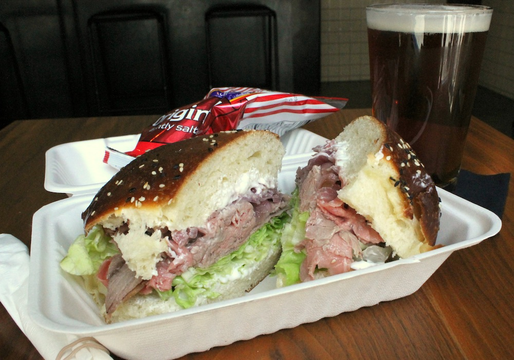 "The $15 ""Business Lunch Special"" includes a sandwich, bag of chips, and pint of beer. Photo: Kate Williams"