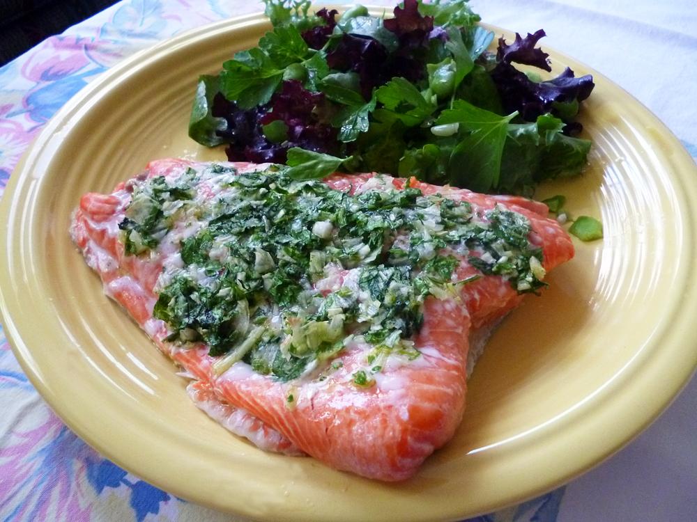 Slow-cooked Salmon over Herb Salad. Photo: Stephanie Rosenbaum Klassen